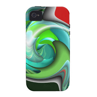 Teal Green and Red Art Case-Mate iPhone 4 Cases