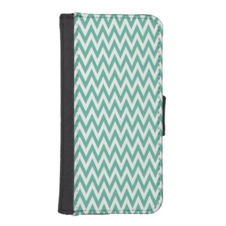 Teal Green and White Chevorn Stripes iPhone 5 Wallets