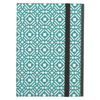 Teal Green and White Geometric Tiled Pattern iPad Air Cover