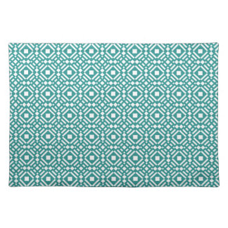 Teal Green and White Geometric Tiled Pattern Placemat