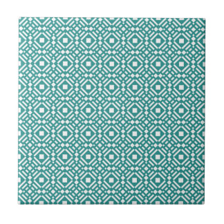 Teal Green and White Geometric Tiled Pattern Small Square Tile