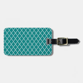 Teal Green And White Moroccan Trellis Pattern Luggage Tag