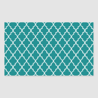 Teal Green And White Moroccan Trellis Pattern Rectangular Sticker
