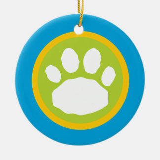 Teal, Green and Yellow Paw Print Round Ceramic Decoration