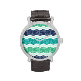 Teal Green, Aqua, and Blue Tropical Chevron Wristwatches
