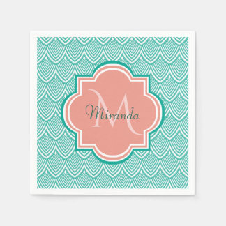 Teal Green Art Deco Fish Scales Pink Monogram Name Disposable Napkin