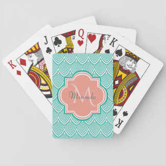 Teal Green Art Deco Fish Scales Pink Monogram Name Playing Cards