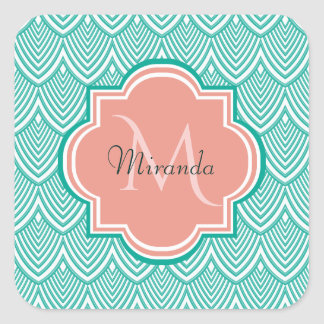 Teal Green Art Deco Fish Scales Pink Monogram Name Square Sticker