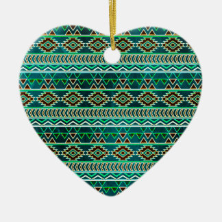 Teal Green Aztec Tribal Pattern Christmas Ornament