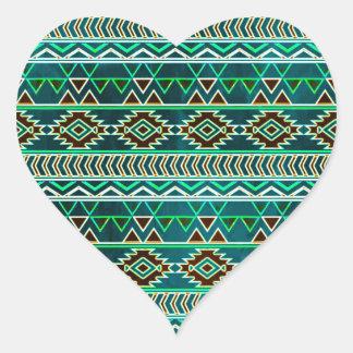 Teal Green Aztec Tribal Pattern Heart Sticker
