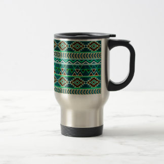 Teal Green Aztec Tribal Pattern Travel Mug