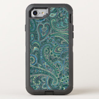 Teal-Green & Beige Vintage Paisley Fabric Texture OtterBox Defender iPhone 7 Case