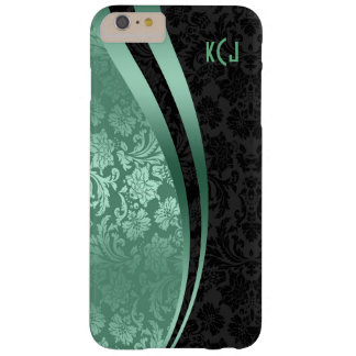Teal-Green & Black Damask & Stripes Barely There iPhone 6 Plus Case