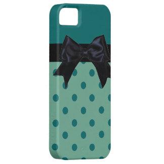 Teal green black polka dot ribbon iphone 5 case