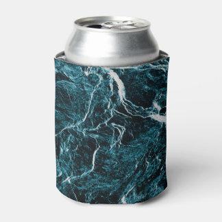 Teal Green Blue Black Pattern Can Cooler