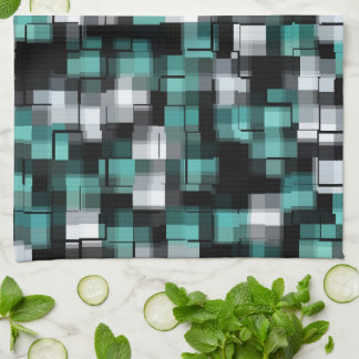 Teal Green Blue Black White Abstract Plaid Tea Towel