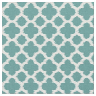 Teal Green Blue White Ikat Quatrefoil Pattern Fabric
