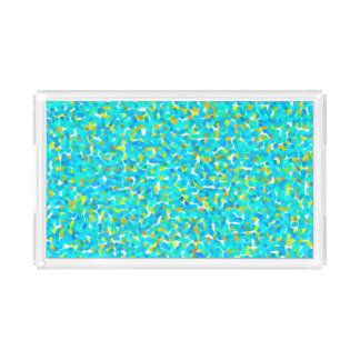 Teal Green Blue Yellow Abstract Pattern Acrylic Tray