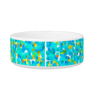 Teal Green Blue Yellow Abstract Pattern Bowl