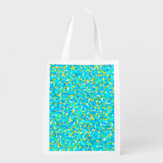 Teal Green Blue Yellow Abstract Pattern Reusable Grocery Bag