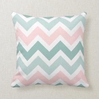 Teal Green Blush Pink Chevron Zigzag Pattern Cushion