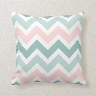 Teal Green Blush Pink Chevron Zigzag Pattern Throw Pillow
