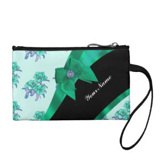 Teal green bow and vintage floral coin purse