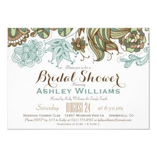 Teal Green & Brown Floral Bridal Shower 13 Cm X 18 Cm Invitation Card