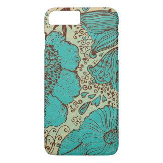 Teal-Green Brown & Green Vintage Flowers iPhone 7 Plus Case