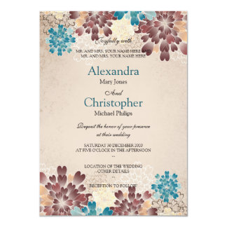 Teal Green, Brown & Ivory Flowers Retro Wedding S3 11 Cm X 16 Cm Invitation Card
