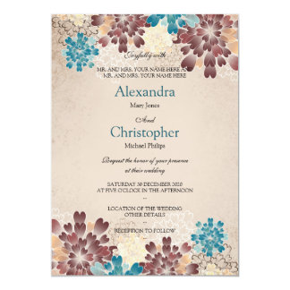 Teal Green, Brown & Ivory Flowers Retro Wedding S4 13 Cm X 18 Cm Invitation Card