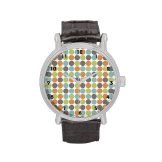 Teal Green Burnt Orange Taupe Brown Polka Dots Wristwatch