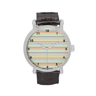 Teal Green Burnt Orange Taupe White Stripes Wristwatches