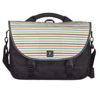 Teal Green Burnt Orange Taupe White Stripes Commuter Bag
