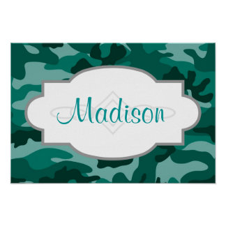 Teal Green Camo, Camouflage Poster