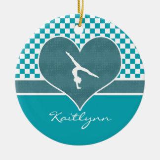 Teal Green Checkered Gymnastics with Monogram Christmas Ornament