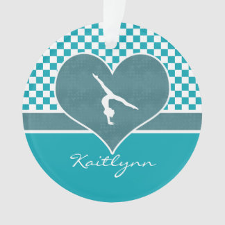 Teal Green Checkered Gymnastics with Monogram Ornament