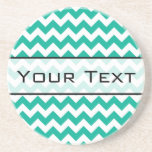Teal Green Chevron - Custom Text and Monogram Beverage Coaster