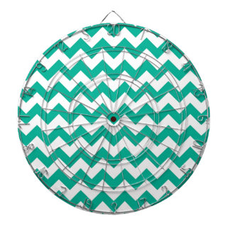 Teal Green Chevrons Dartboard