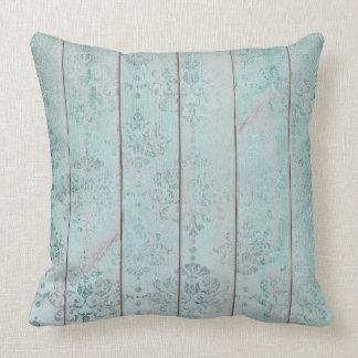 Teal Green Damask Metallic Wood Cottage Home Cushion