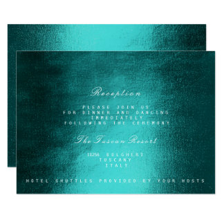 Teal Green Delicate Script Vip Wedding Reception Card
