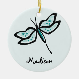 Teal Green Dragonfly Round Ceramic Decoration