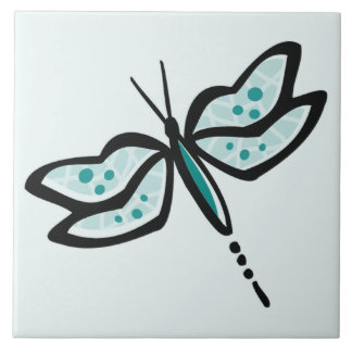 Teal Green Dragonfly Tile