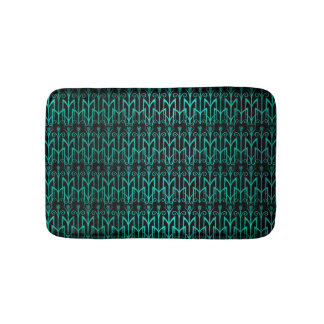 Teal Green Egyptian Reed Grass Color Art Deco Bath Mat
