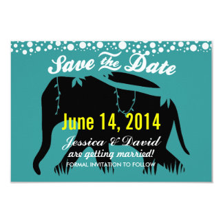 Teal Green Elephant Silhouette Save the Date Cards 9 Cm X 13 Cm Invitation Card