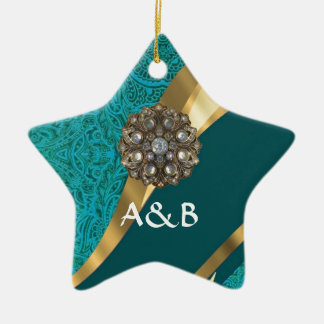 Teal green floral damask christmas ornament