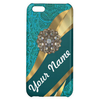 Teal green floral damask case for iPhone 5C