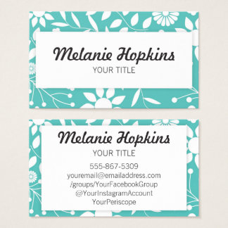 Teal Green Floral Pattern Artistic Business Card