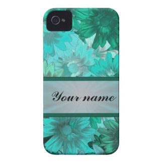 Teal green floral pattern iPhone 4 cases