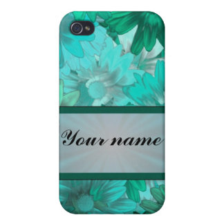 Teal green floral pattern iPhone 4 cover